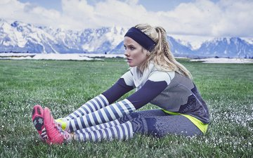 grass, blonde, fitness, sports wear, exercises