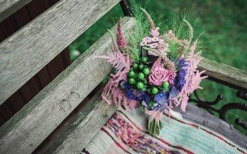 flowers, bench, bouquet, composition