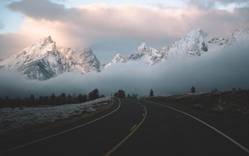 the sky, road, clouds, mountains, nature, fog