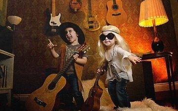 музыка, взгляд, очки, дети, девочка, мальчик, гитары, шляпа, певцы