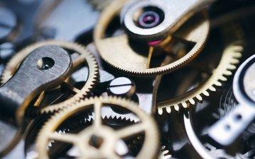макро, часы, механизм, шестерни