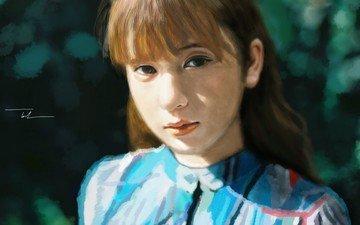 арт, девушка, портрет, взгляд, волосы, губы, лицо