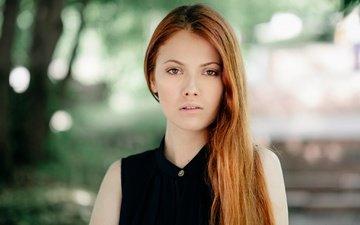 girl, portrait, look, red, model, hair, face