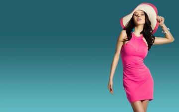 girl, background, pose, brunette, look, model, hair, face, figure, hat, pink dress