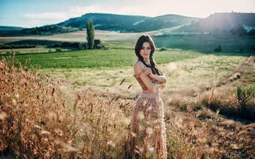 девушка, поле, брюнетка, взгляд, модель, волосы, лицо, солнечный свет, evgeny freyer