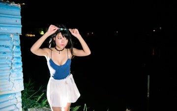 girl, look, hair, face, asian, neckline