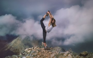 clouds, mountains, girl, stretching, yoga