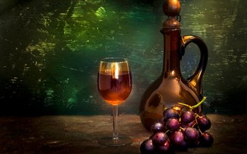 grapes, glass, wine, bunch, still life, decanter