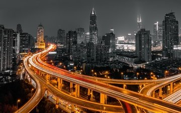 night, lights, the city, shanghai, china, highway