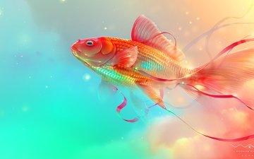 золотая рыбка, рыба, подводный мир, цифровое искусство