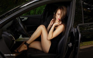girl, model, legs, car, black dress, long hair, sitting, closed eyes, guenter stoehr