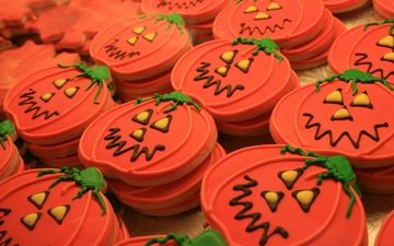 halloween, sweet, cookies, dessert, glaze, pumpkin