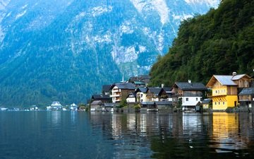 lake, mountains, the city, austria, hallstatt, dachstein