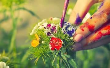 flowers, nature, hand, plants, paint, meadow, bouquet, art, closeup