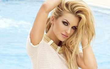 girl, blonde, look, model, hair, face, makeup, hands on head