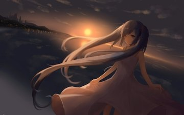 clouds, sunset, city, vocaloid, twintails, dress, hatsune miku