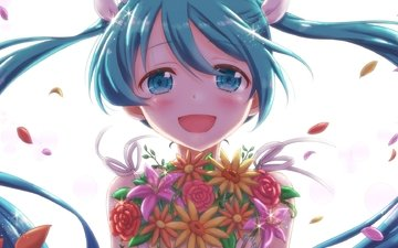 petals, vocaloid, twintails, flowers, smiling, hatsune miku