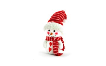 new year, snowman, white background, hat, holidays, christmas, hearts, scarf