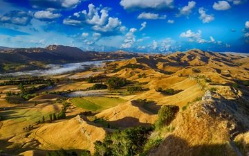the sky, clouds, mountains, hills, landscape, valley, new zealand