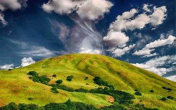 небо, облака, природа, пейзаж, холм