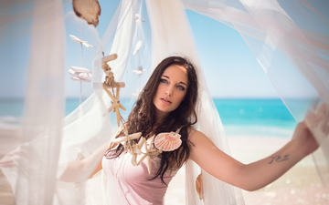 girl, beach, look, model, hair, face, holiday