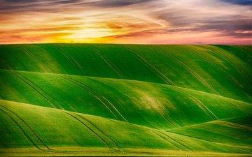 холмы, природа, закат, пейзаж, горизонт