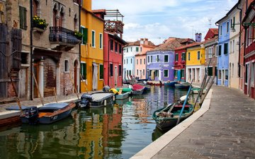 the sky, the city, boats, venice, channel, home, italy, burano island
