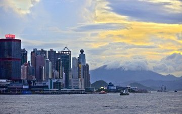 clouds, sea, the city, china, building, hong kong