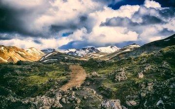 небо, облака, горы, пейзаж, холм, долина, исландия, горный хребет