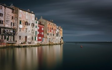 the sky, water, reflection, sea, croatia, rovinj, istria