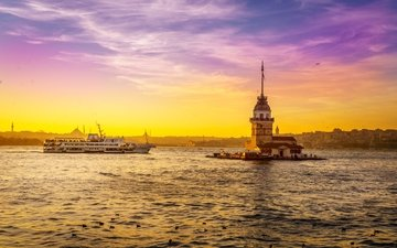 the sky, sunset, turkey, istanbul, maiden's tower