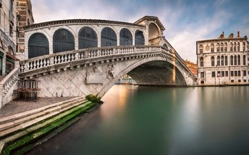panorama, venice, channel, italy, cityscape, rialto bridge, san bartolomeo church