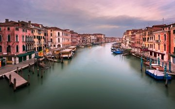 sunset, panorama, venice, channel, italy, grand canal, rialto bridge