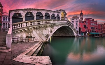 sunset, panorama, venice, channel, italy, grand canal, rialto bridge, the venice sunset, san bartolomeo church