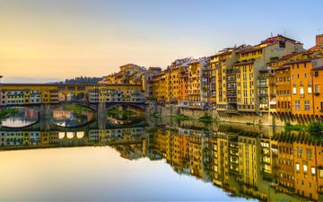 river, reflection, bridge, italy, florence, the arno river, old bridge, the ponte vecchio