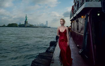 girl, the city, look, model, face, actress, red dress, jennifer lawrence