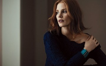 girl, look, red, hair, face, actress, jessica chastain