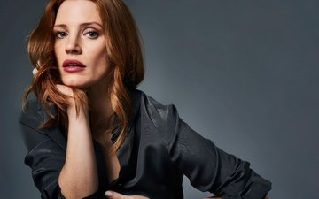 girl, portrait, look, red, hair, face, actress, jessica chastain