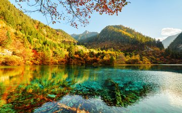 озеро, горы, природа, отражение, парк, осень, китай, цзючжайгоу