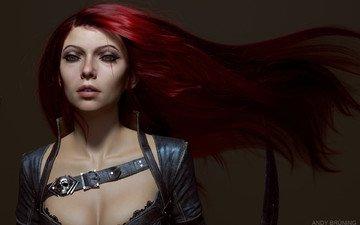 art, girl, look, face, red hair, katarina, league of legends