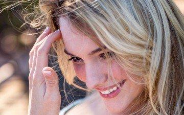 девушка, блондинка, улыбка, взгляд, модель, волосы, лицо, kenna james