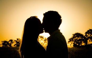 закат, любовь, пара, поцелуй