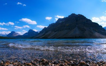 озеро, горы, природа, камни, берег, пейзаж, небо облака