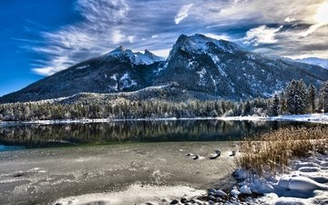 небо, облака, озеро, снег, лес, зима, гора