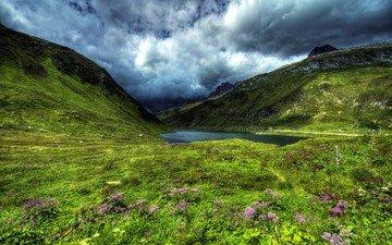 небо, цветы, облака, озеро, холмы, природа, пейзаж