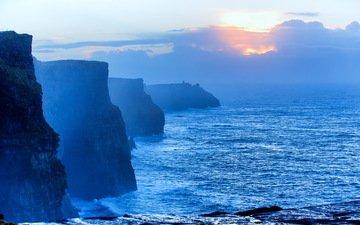 скалы, закат, пейзаж, море, побережье