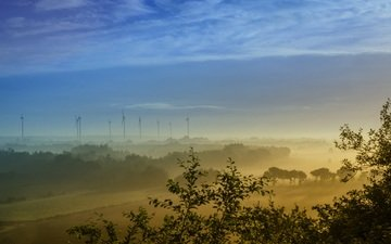 небо, облака, природа, пейзаж, туман, рассвет