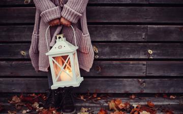 свет, осень, огонь, фонарь, руки, свеча