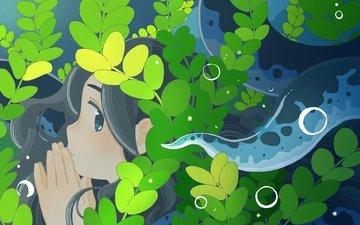 leaves, girl, anime, profile, face