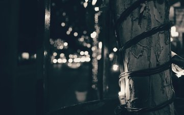 light, night, black and white, street, light bulb, garland, bokeh